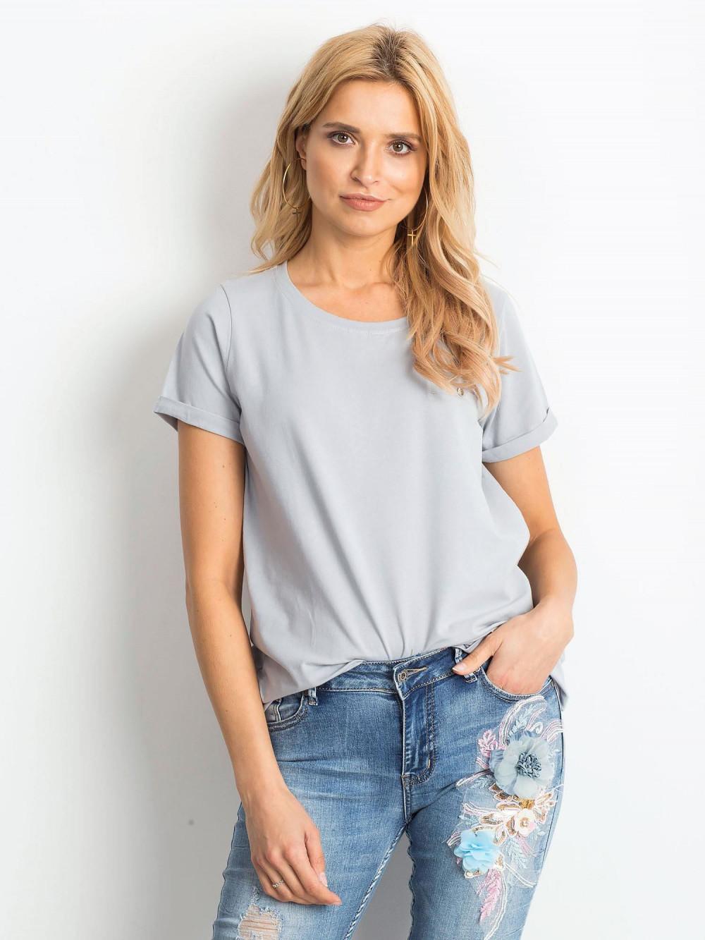 Jasnografitowy t-shirt O-Neck Kasom 1