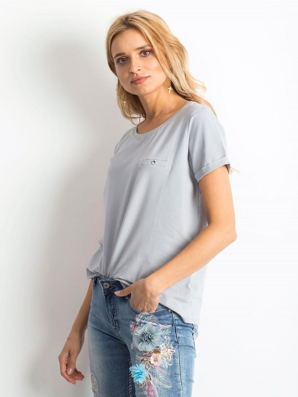 Jasnografitowy t-shirt O-Neck Kasom 2
