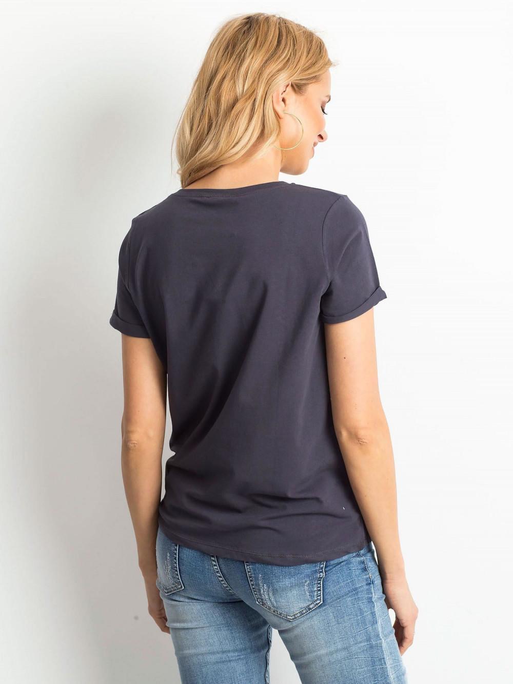 Grafitowy t-shirt O-Neck Kasom 4