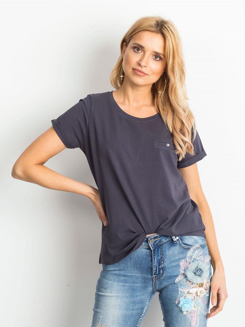 Grafitowy t-shirt O-Neck Kasom 1