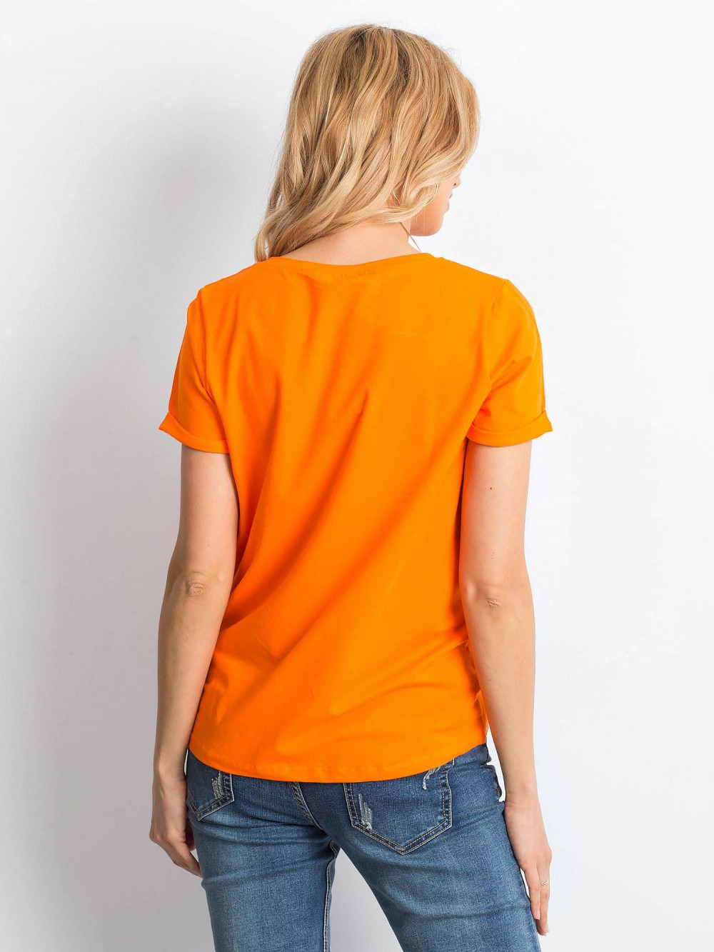 Neonowo pomarańczowy t-shirt O-Neck Kasom 4