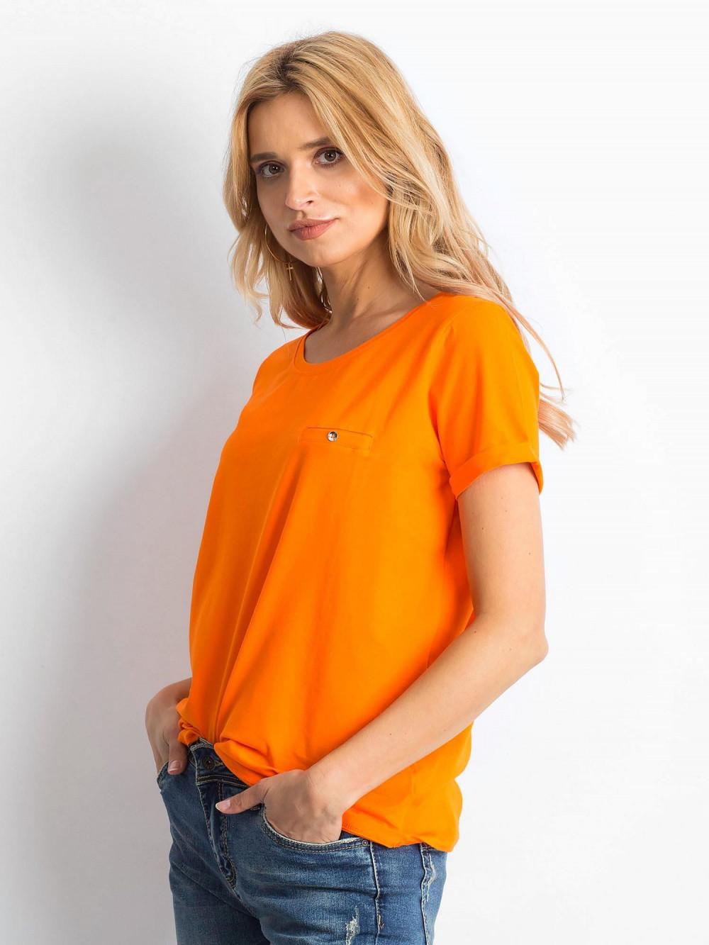Neonowo pomarańczowy t-shirt O-Neck Kasom 2
