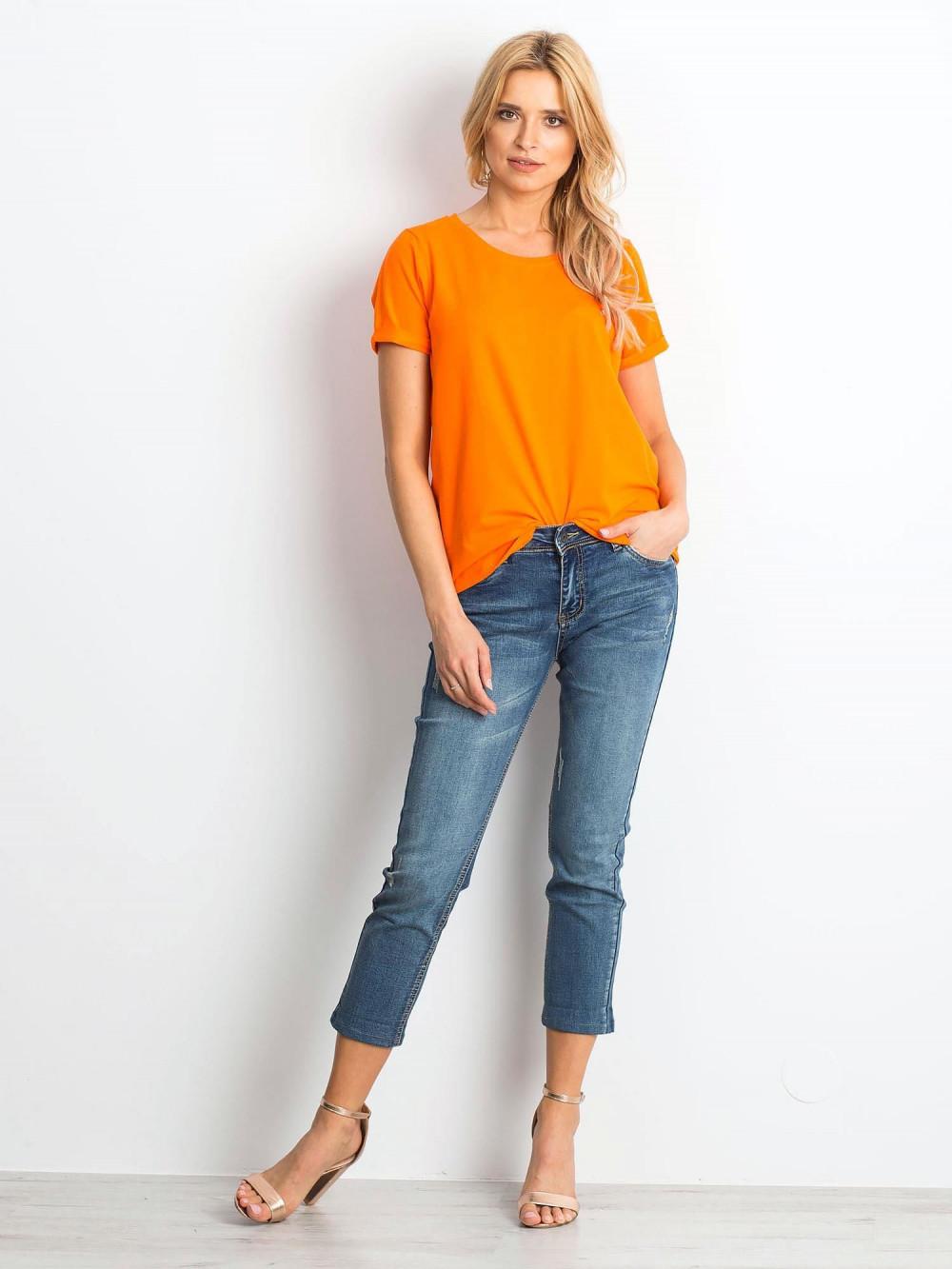 Neonowo pomarańczowy t-shirt O-Neck Kasom 3