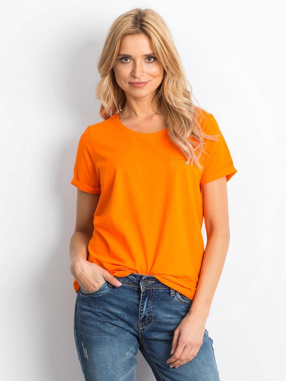Neonowo pomarańczowy t-shirt O-Neck Kasom 1