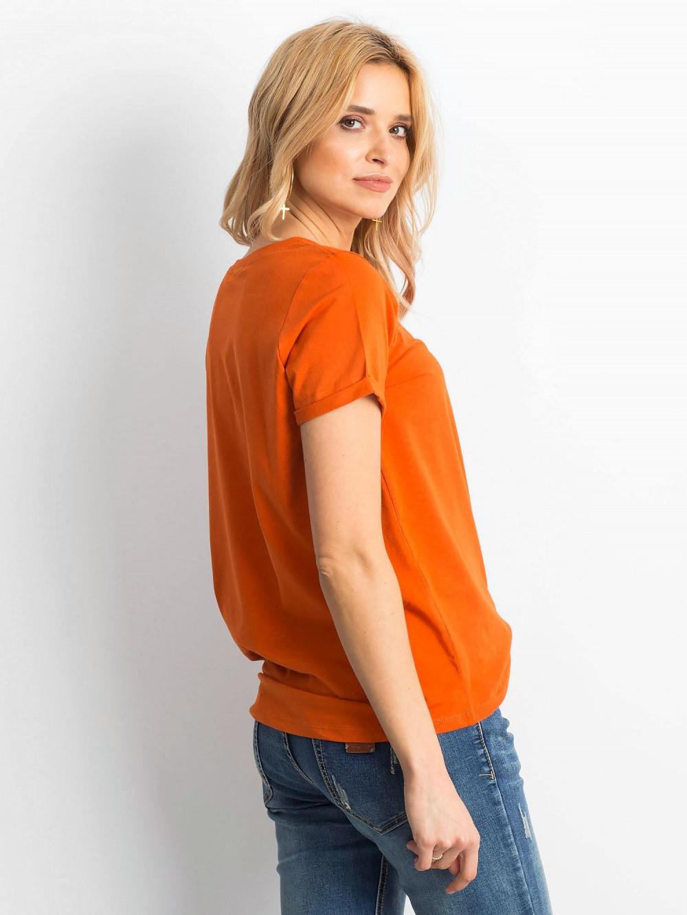 Ciemnopomarańczowy t-shirt O-Neck Kasom 4