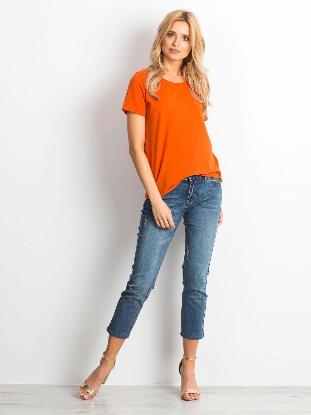 Ciemnopomarańczowy t-shirt O-Neck Kasom 3