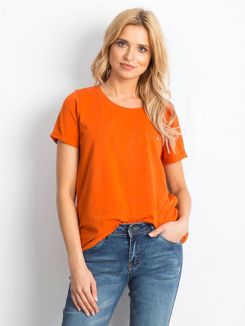 Ciemnopomarańczowy t-shirt O-Neck Kasom 1