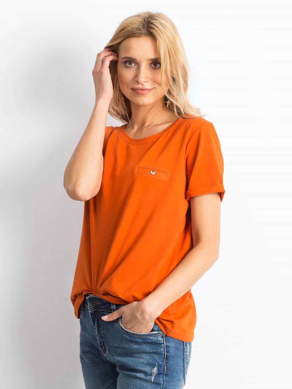 Ciemnopomarańczowy t-shirt O-Neck Kasom 2
