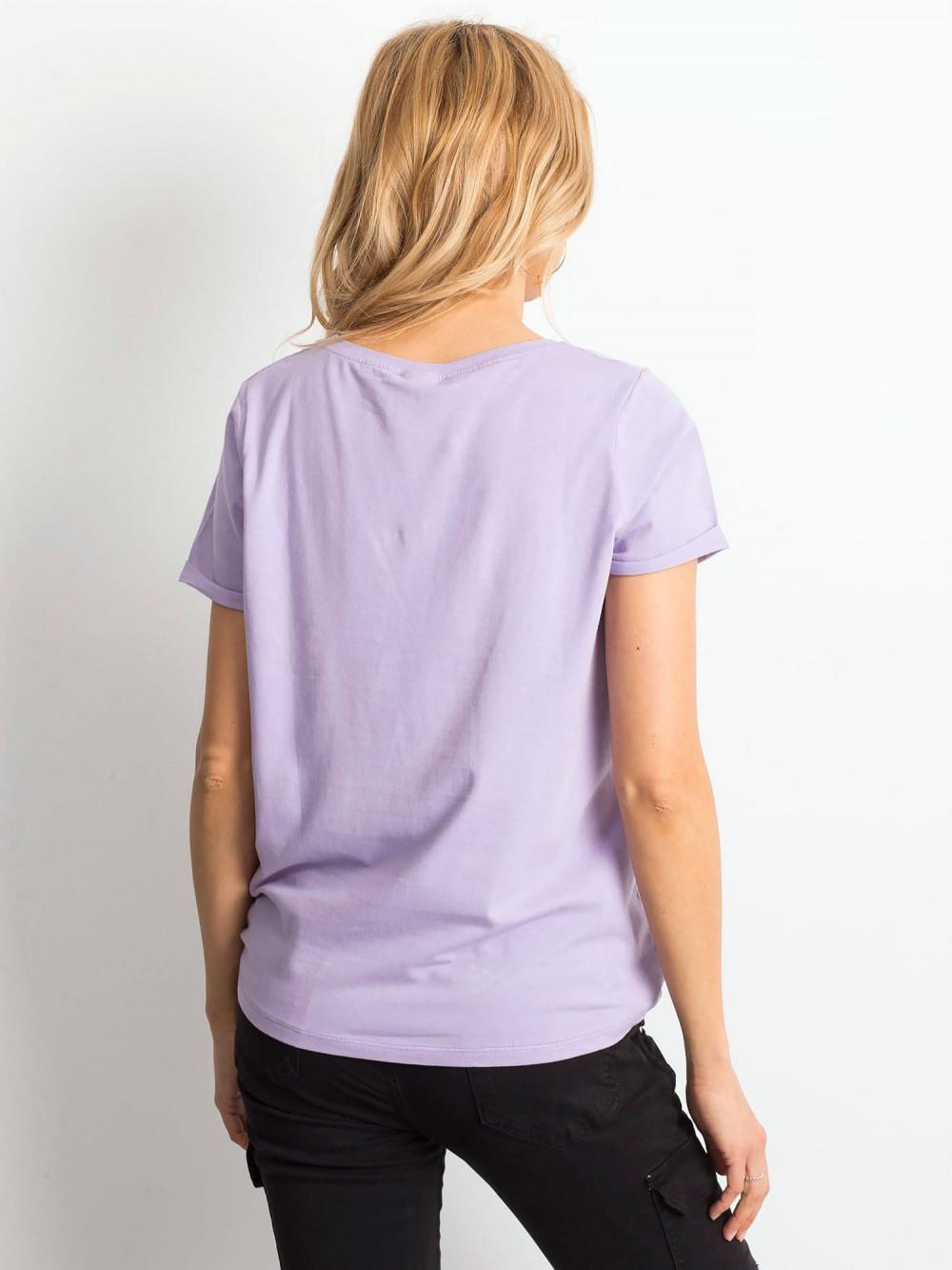 Jasnofioletowy t-shirt O-Neck Kasom 4