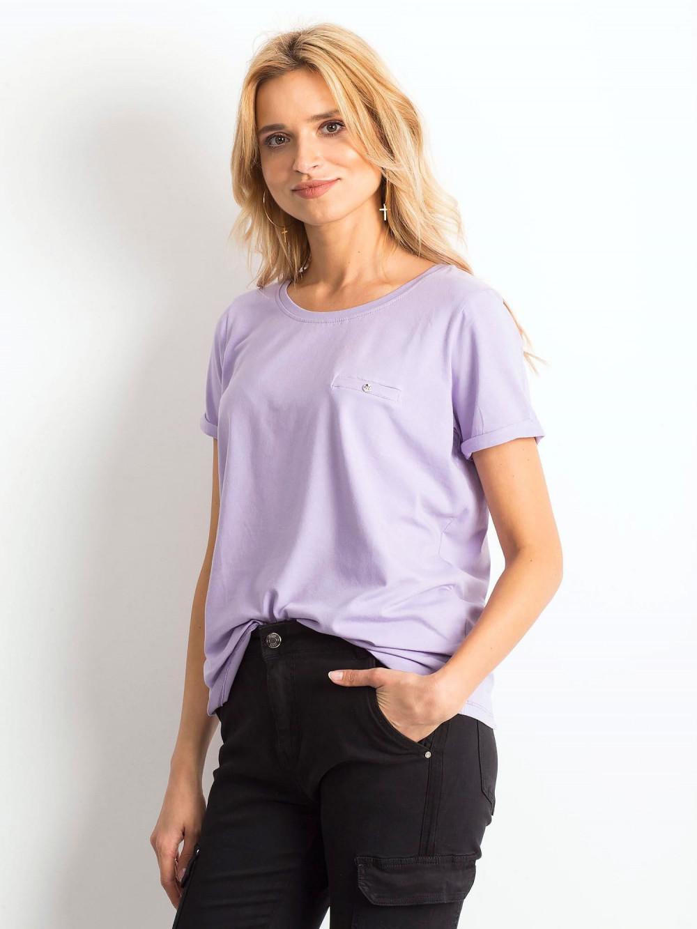 Jasnofioletowy t-shirt O-Neck Kasom 2