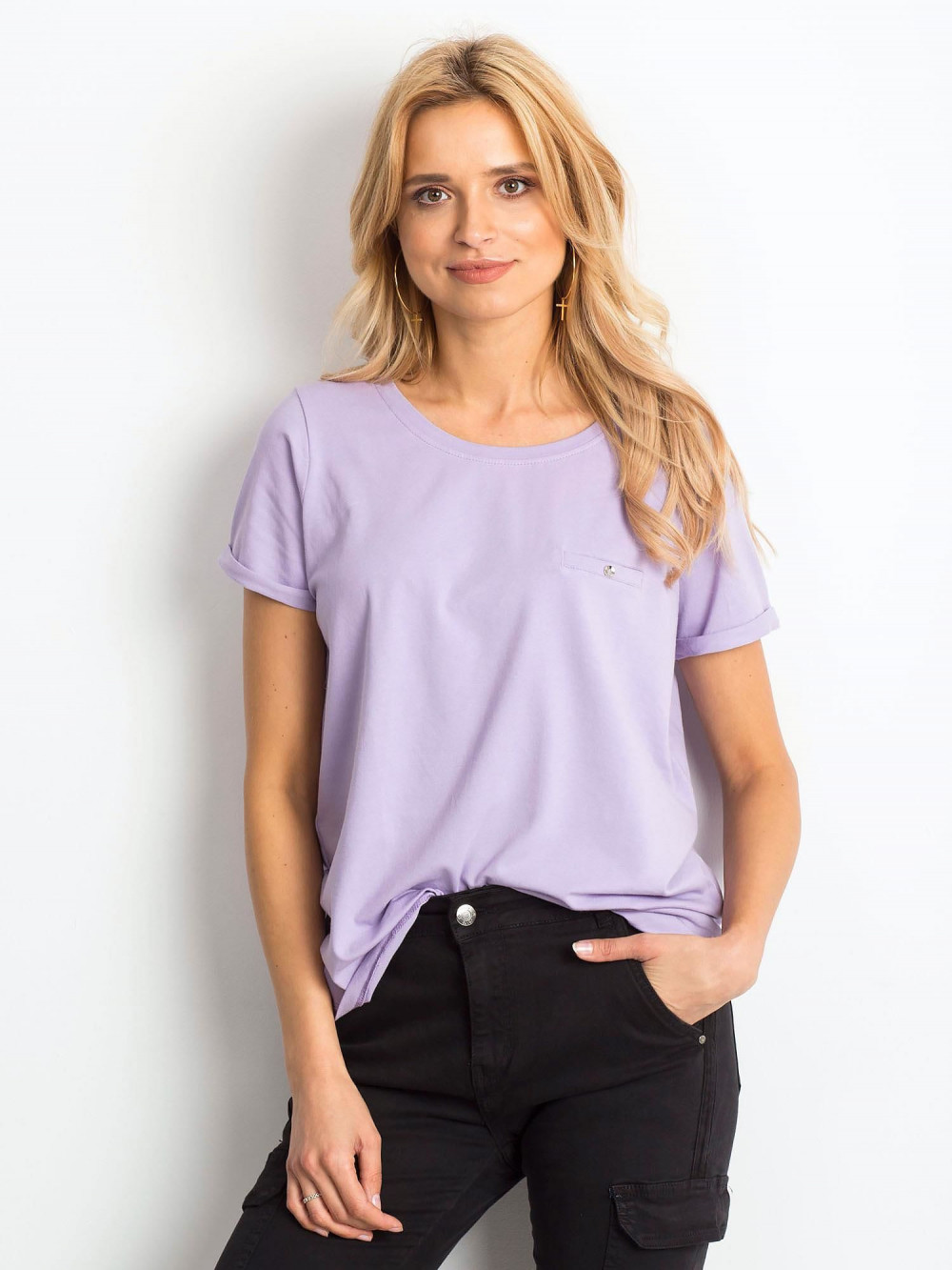 Jasnofioletowy t-shirt O-Neck Kasom 1