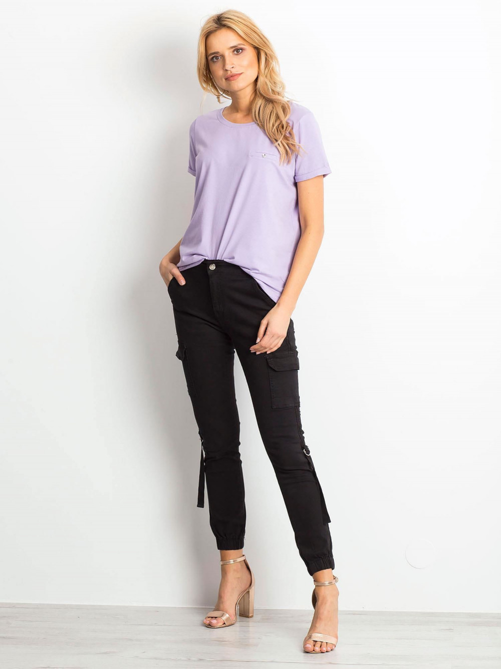 Jasnofioletowy t-shirt O-Neck Kasom 3