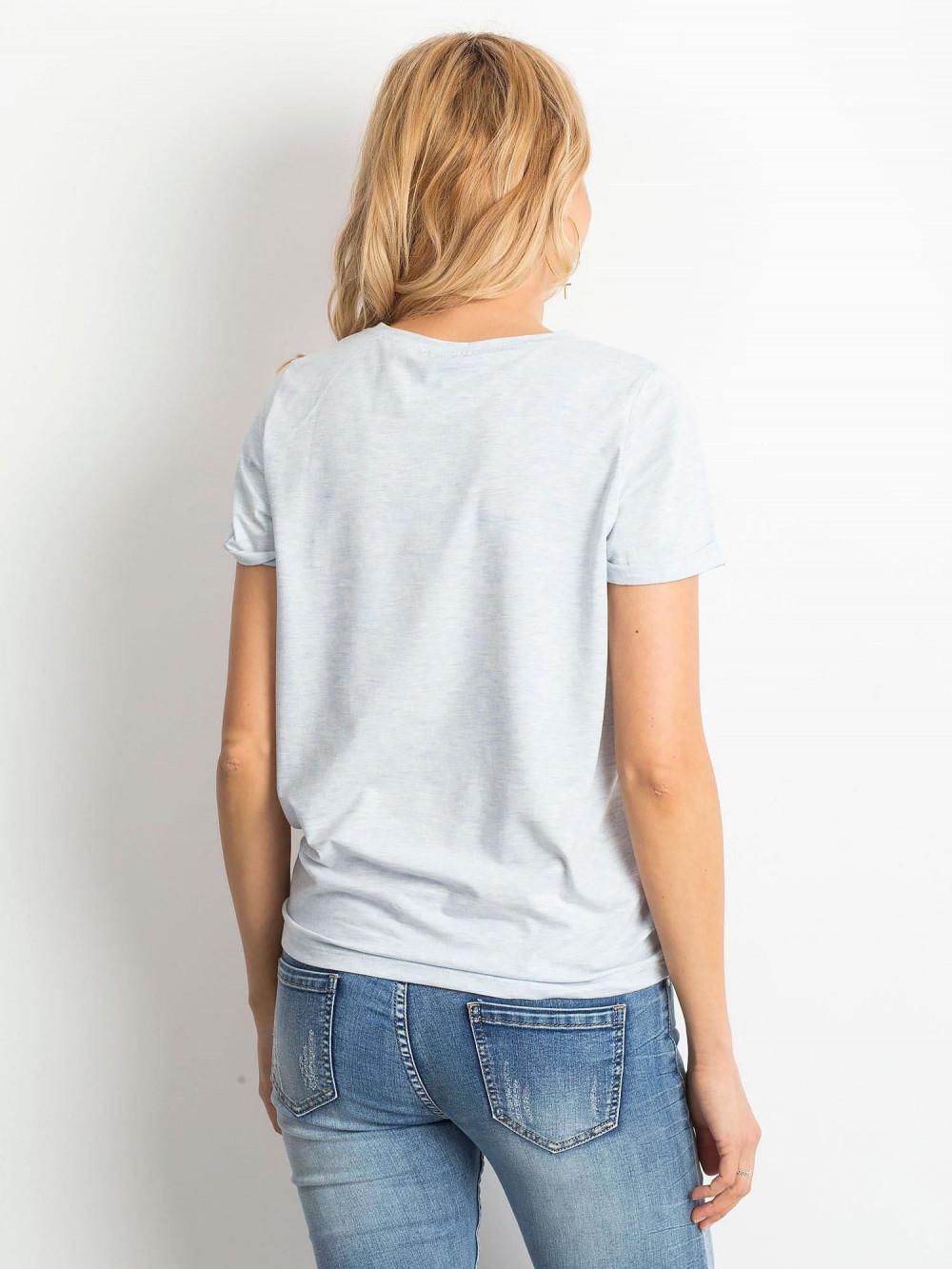 Niebieski melanżowy t-shirt O-Neck Kasom 4