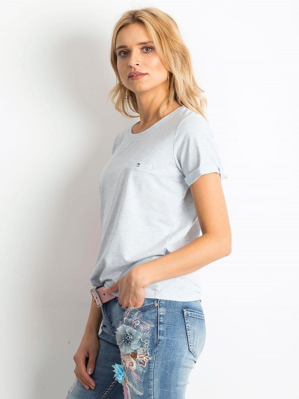 Niebieski melanżowy t-shirt O-Neck Kasom 2