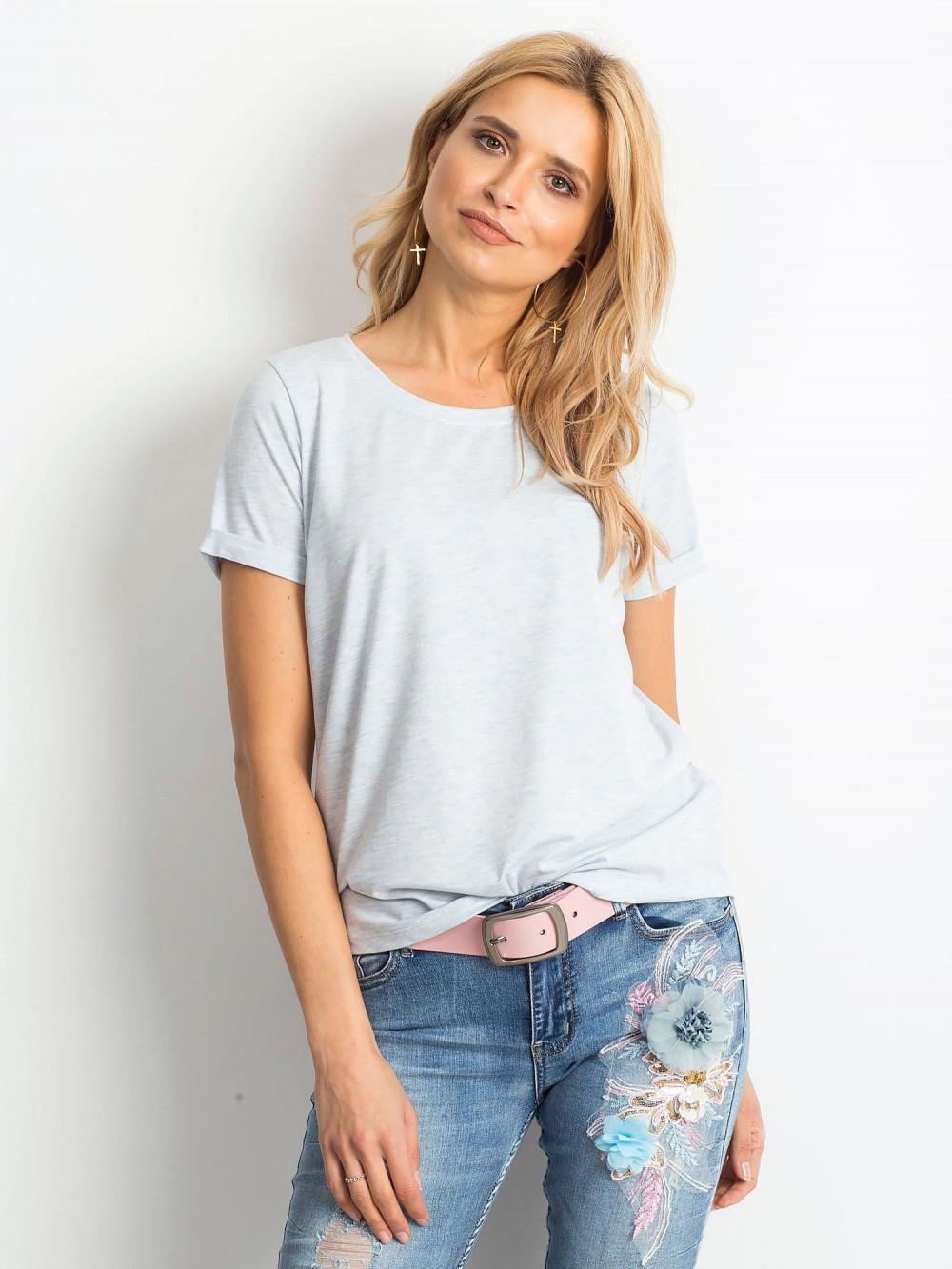Niebieski melanżowy t-shirt O-Neck Kasom 1