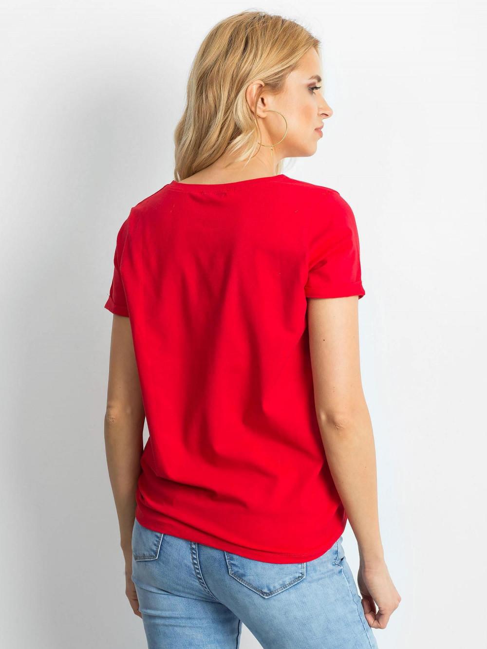 Czerwony t-shirt O-Neck Kasom 4