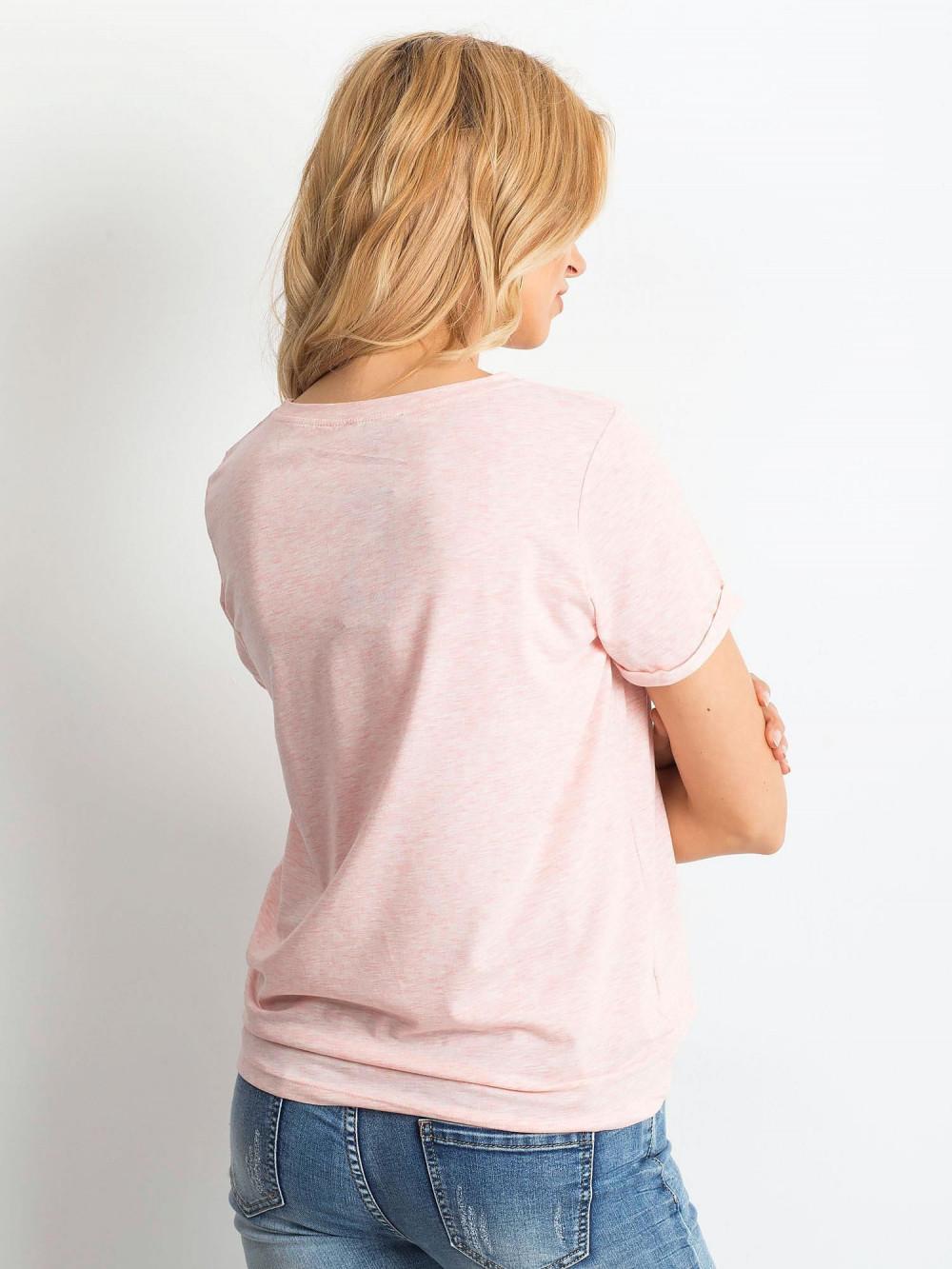 Różowy melanżowy t-shirt O-Neck Kasom 5