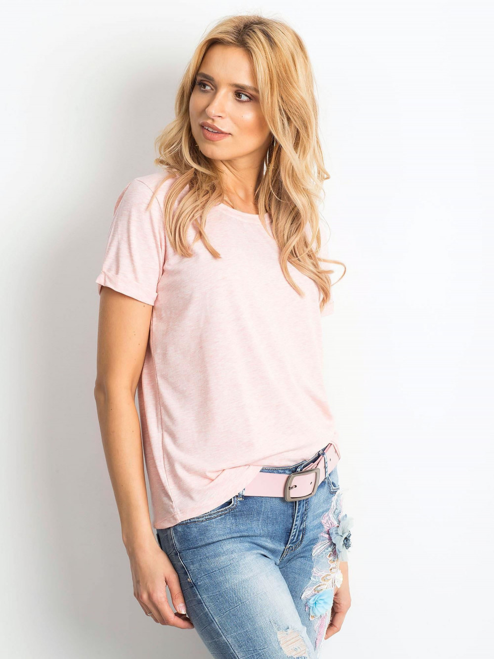 Różowy melanżowy t-shirt O-Neck Kasom 2
