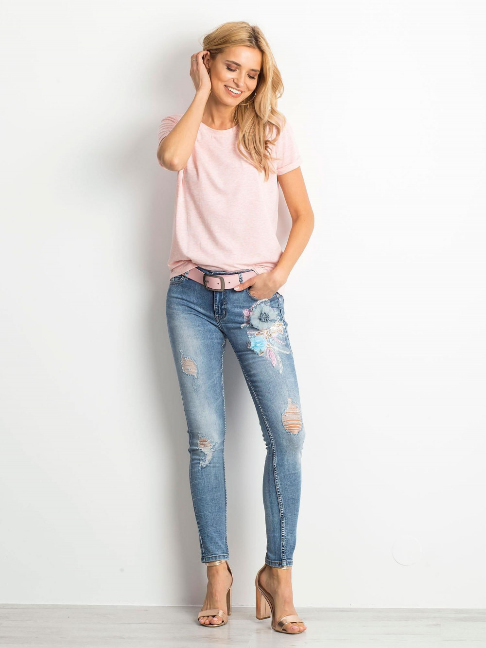 Różowy melanżowy t-shirt O-Neck Kasom 4