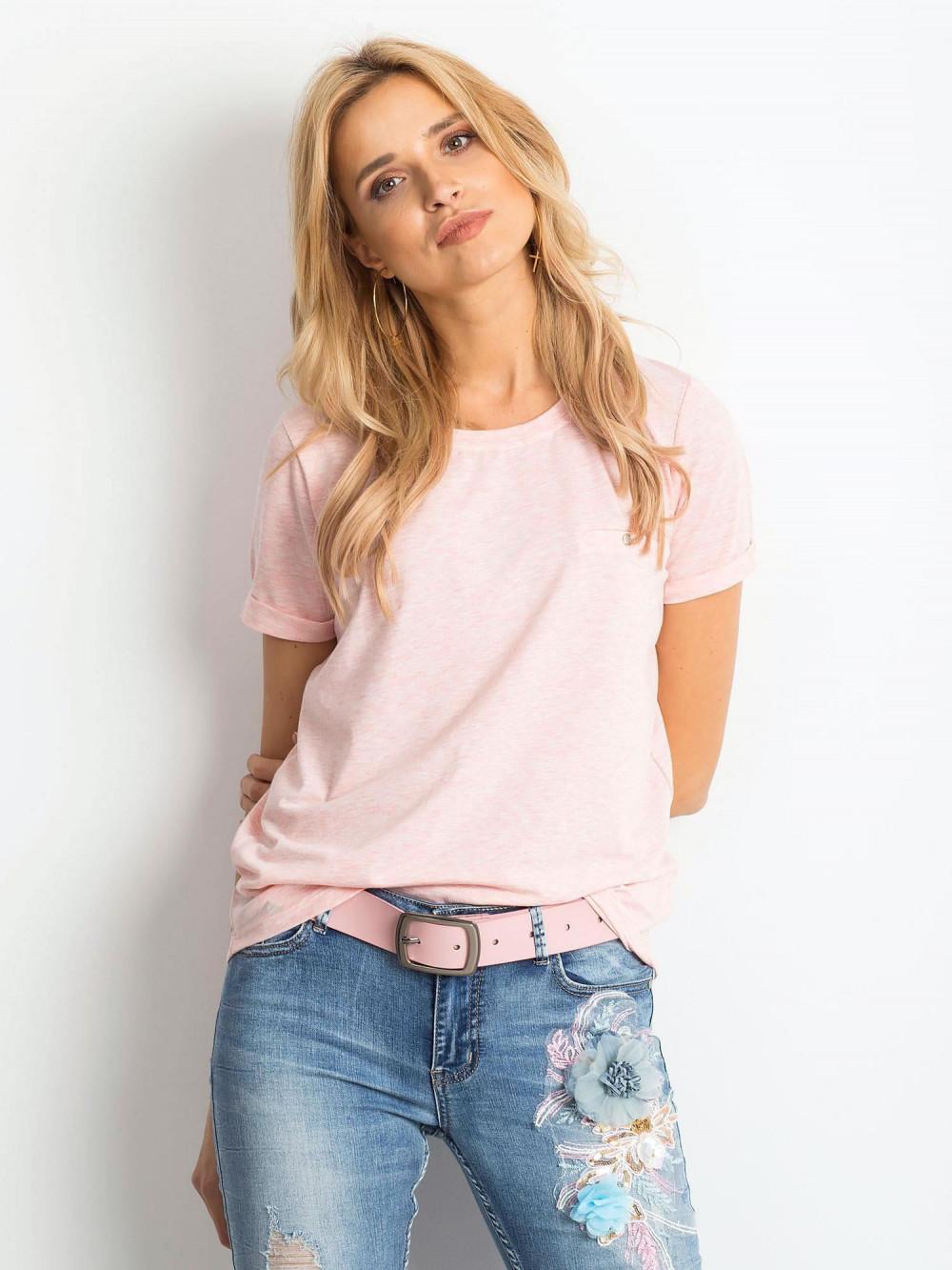 Różowy melanżowy t-shirt O-Neck Kasom 1
