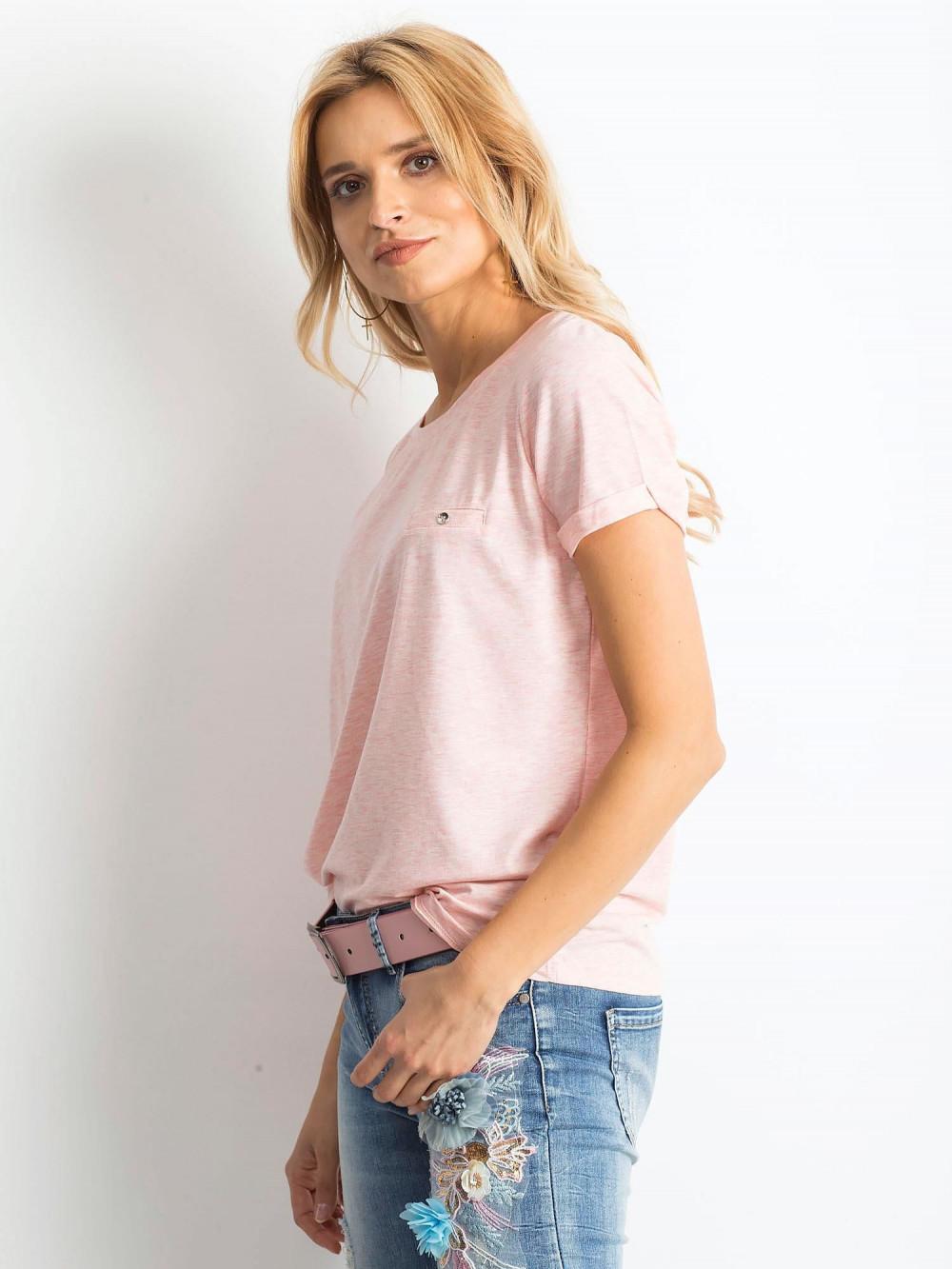 Różowy melanżowy t-shirt O-Neck Kasom 3