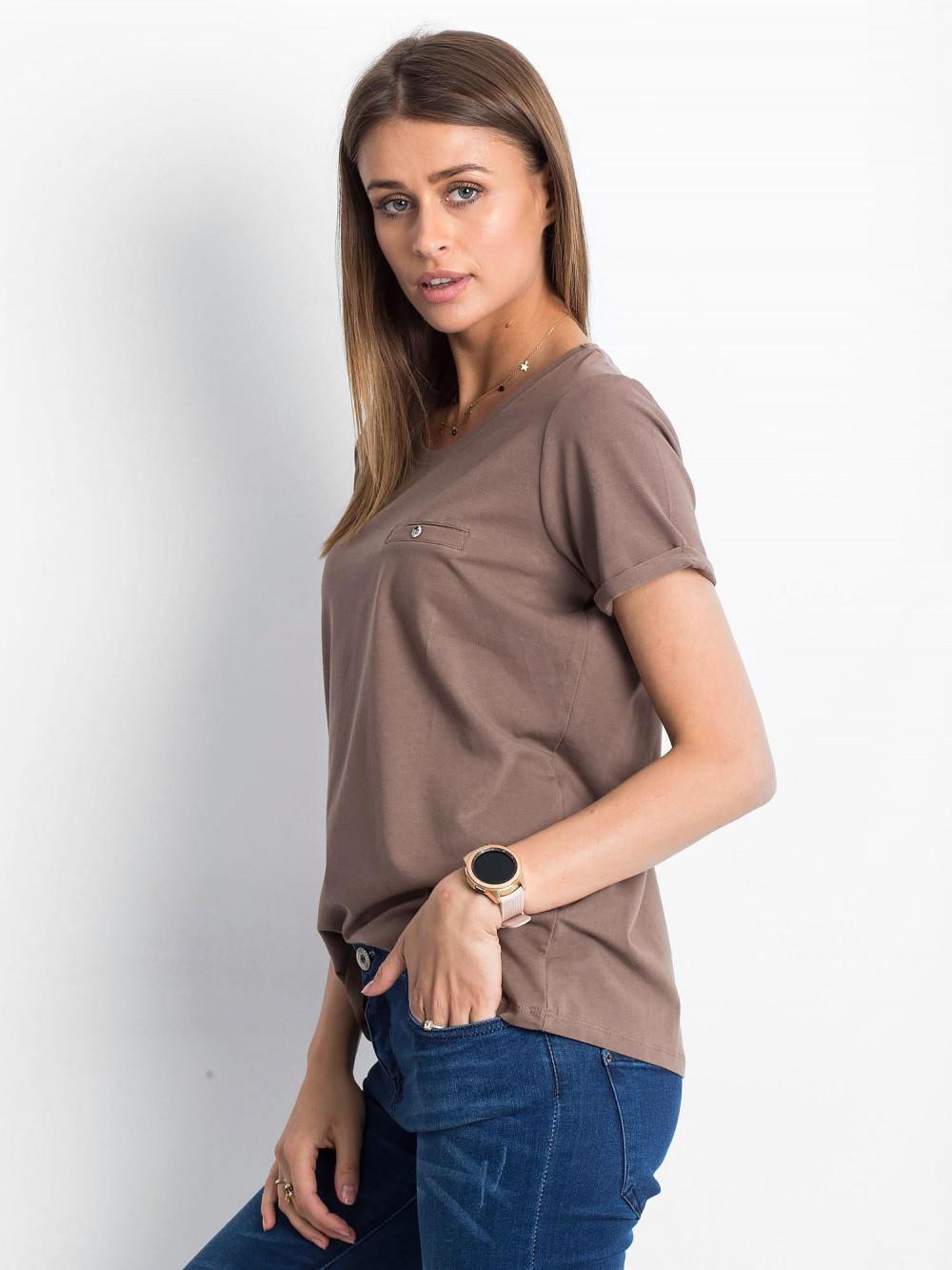 Kawowy t-shirt O-Neck Kasom 2