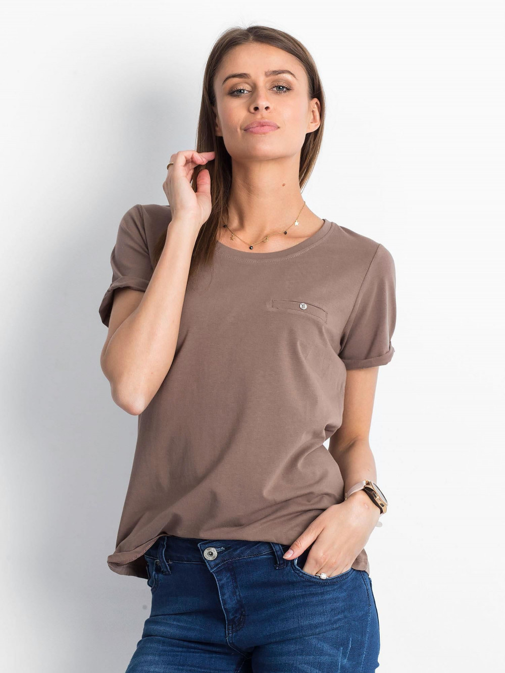 Kawowy t-shirt O-Neck Kasom 1