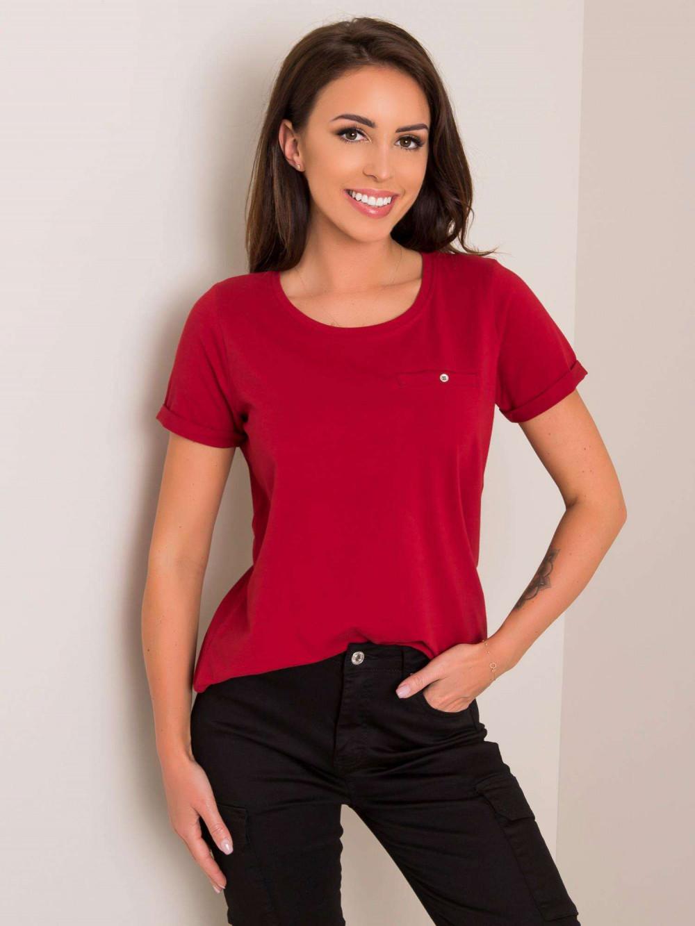 Wiśniowy t-shirt O-Neck Kasom 1