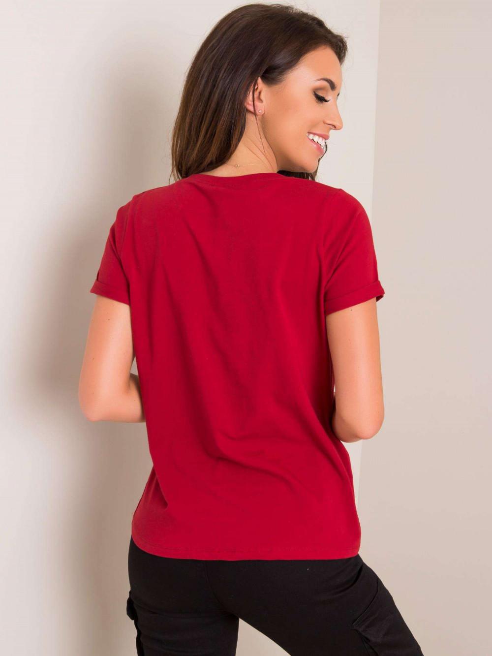 Wiśniowy t-shirt O-Neck Kasom 2