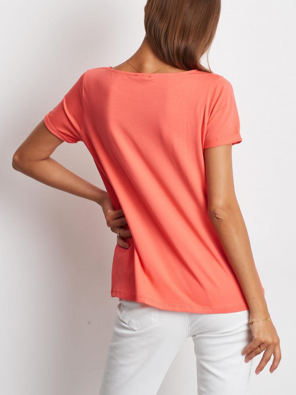 Koralowy gładki t-shirt Sammy 5