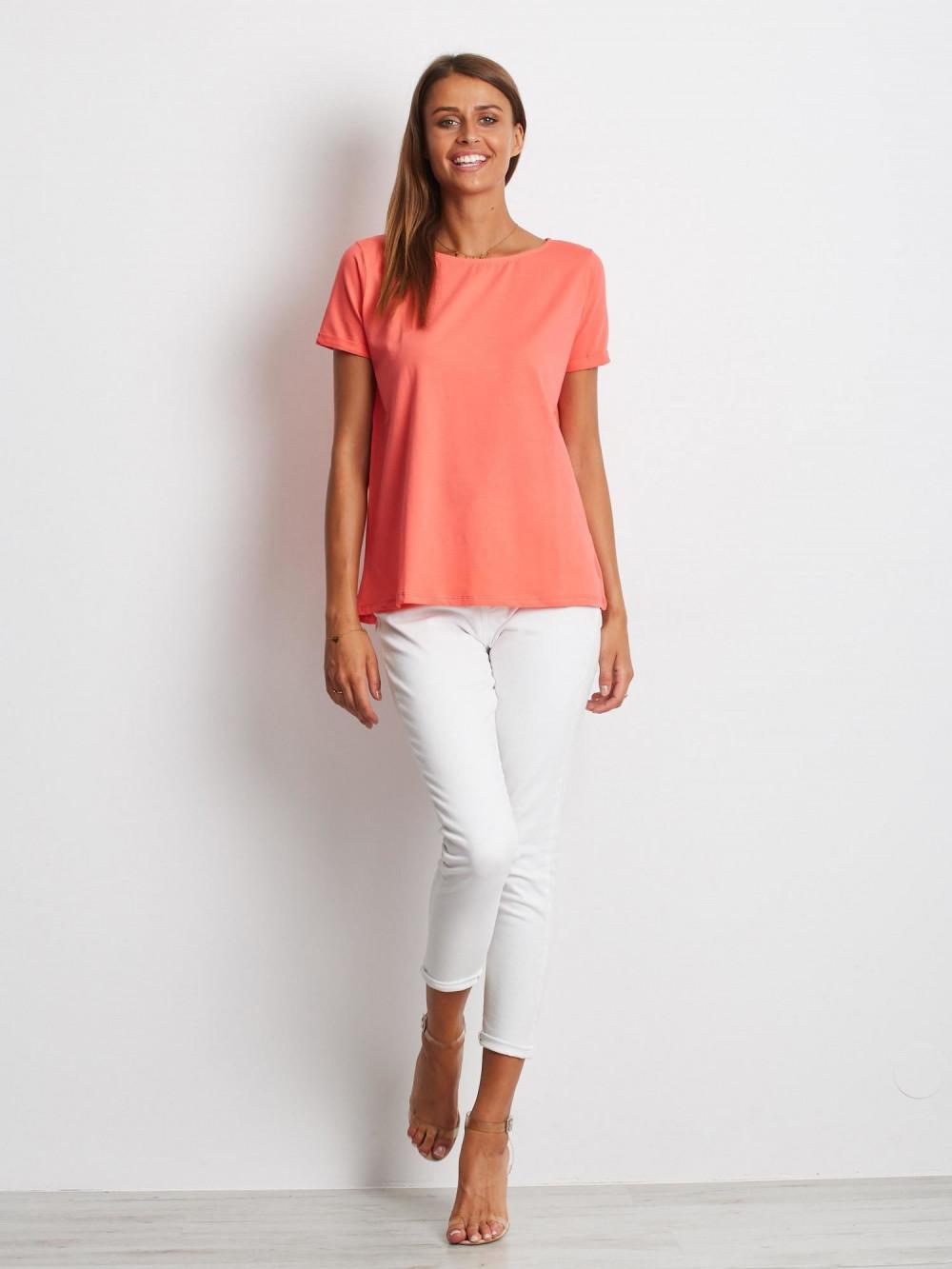 Koralowy gładki t-shirt Sammy 3