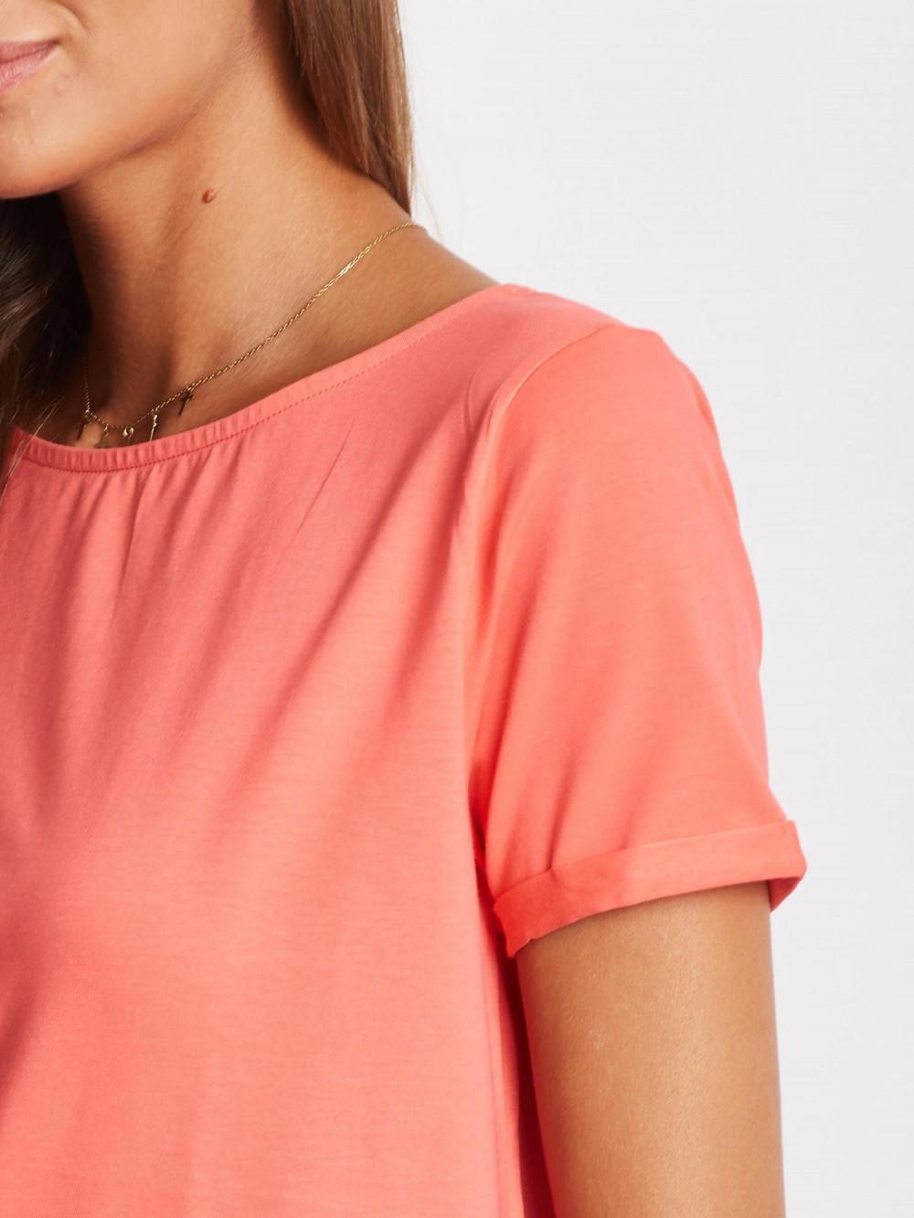 Koralowy gładki t-shirt Sammy 4