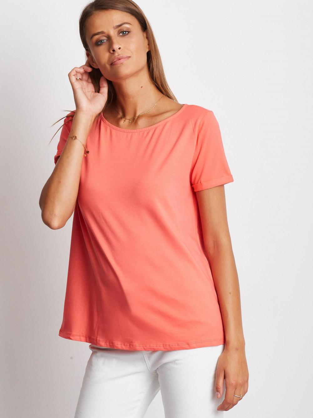 Koralowy gładki t-shirt Sammy 1