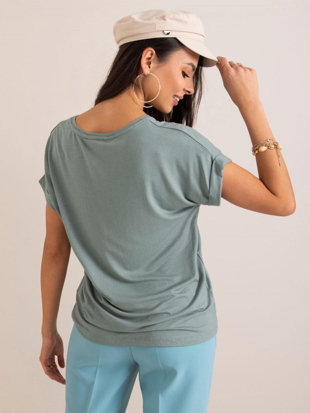 Zielony t-shirt z podwijanymi rękawami Feos 3