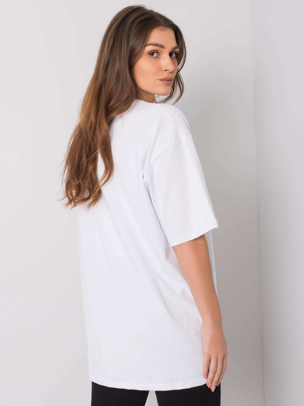 Biały luźny t-shirt oversize Damage 4
