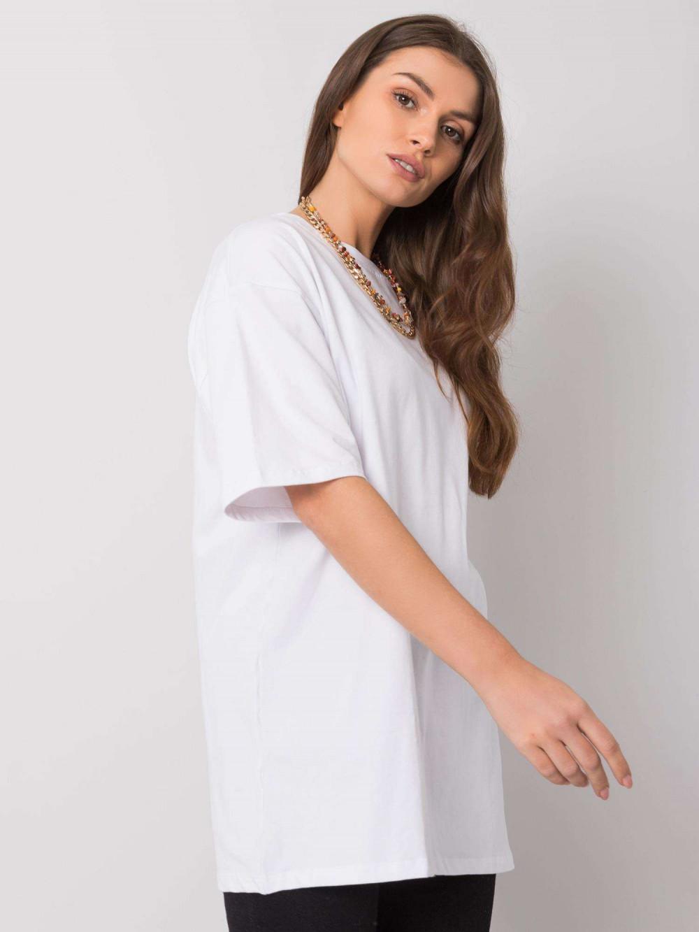Biały luźny t-shirt oversize Damage 3