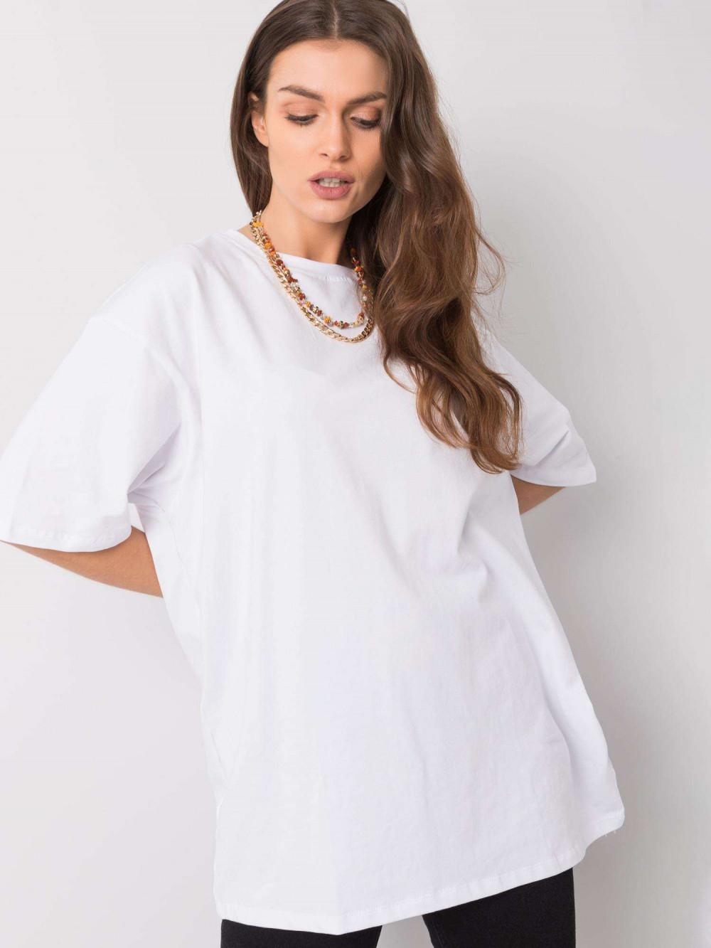 Biały luźny t-shirt oversize Damage 2