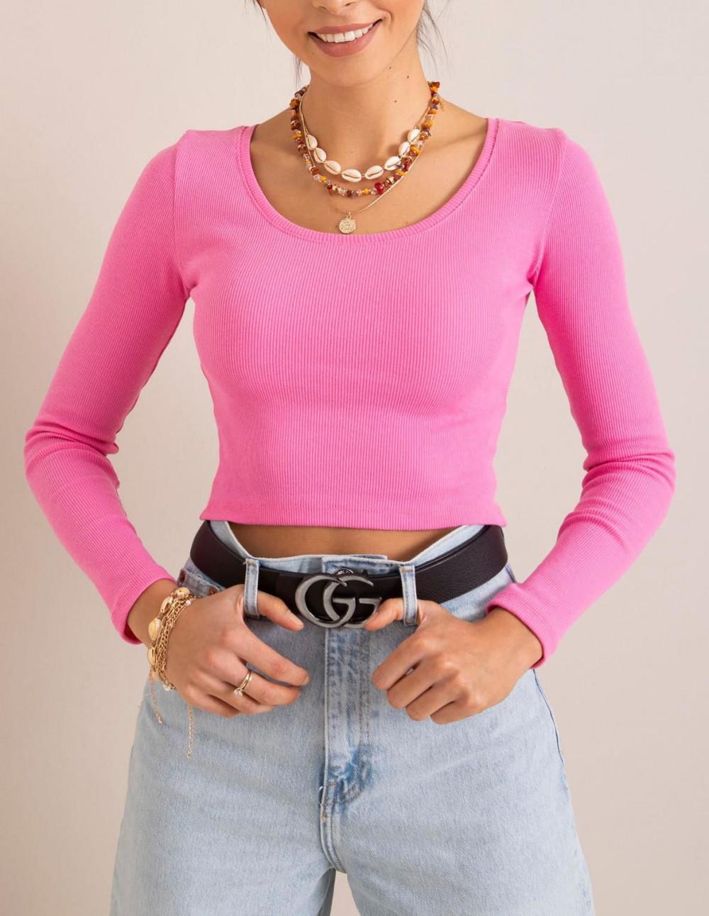 Różowa bluzka crop top Poissy 3