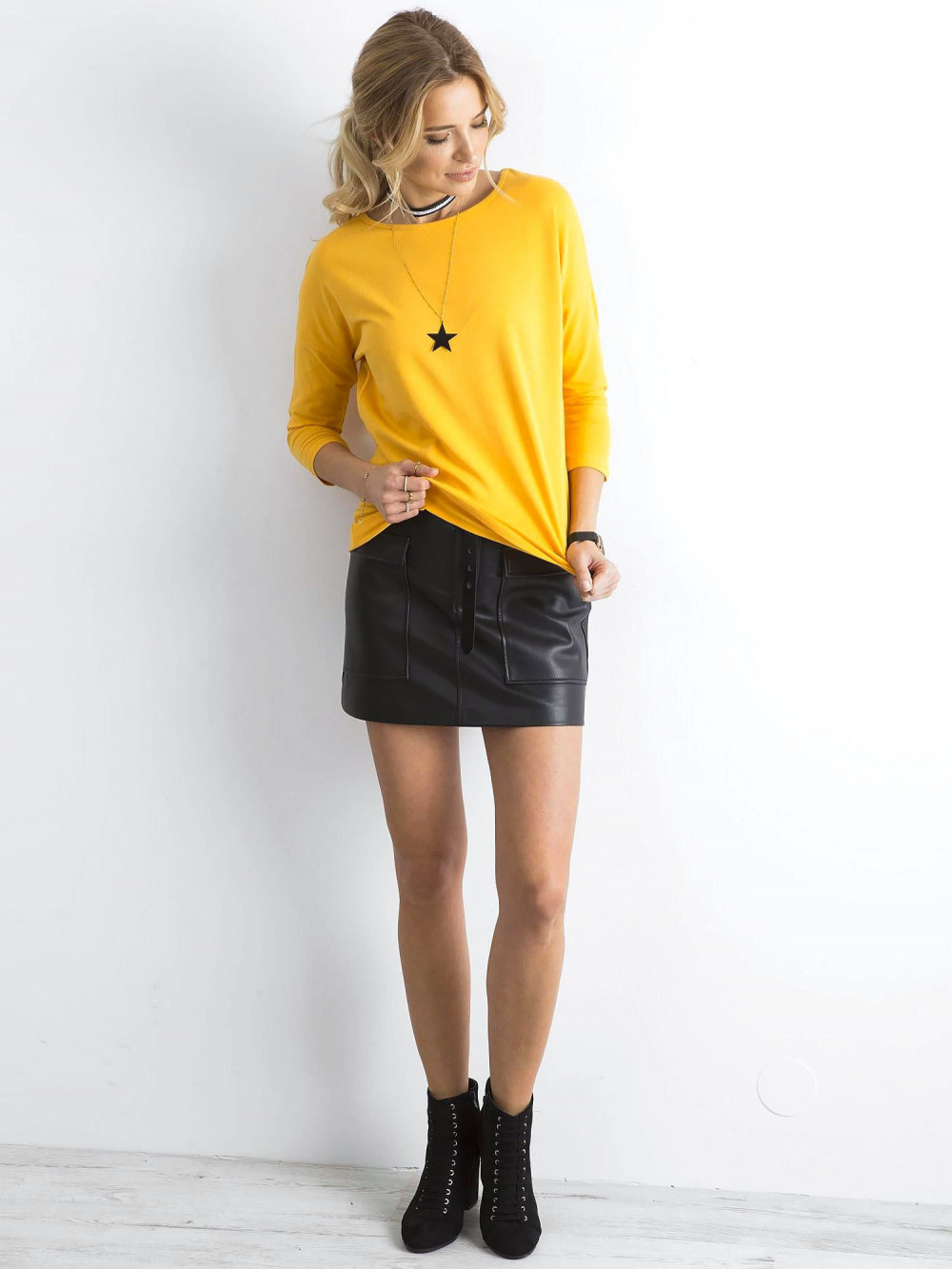 Ciemnożółta gładka bluzka Summer 3