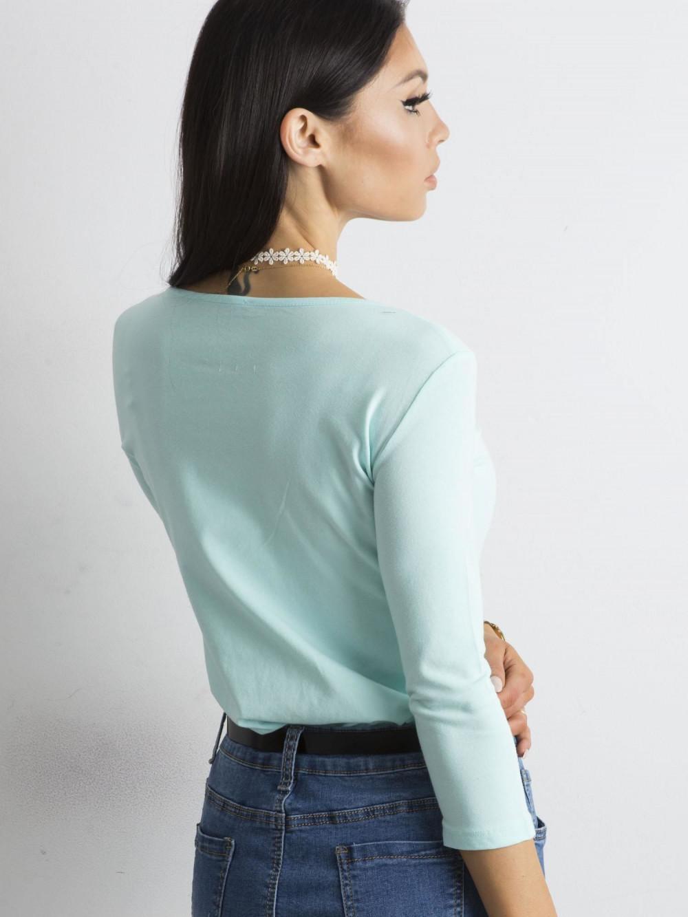 Miętowa bluzka O-Neck Sara 4