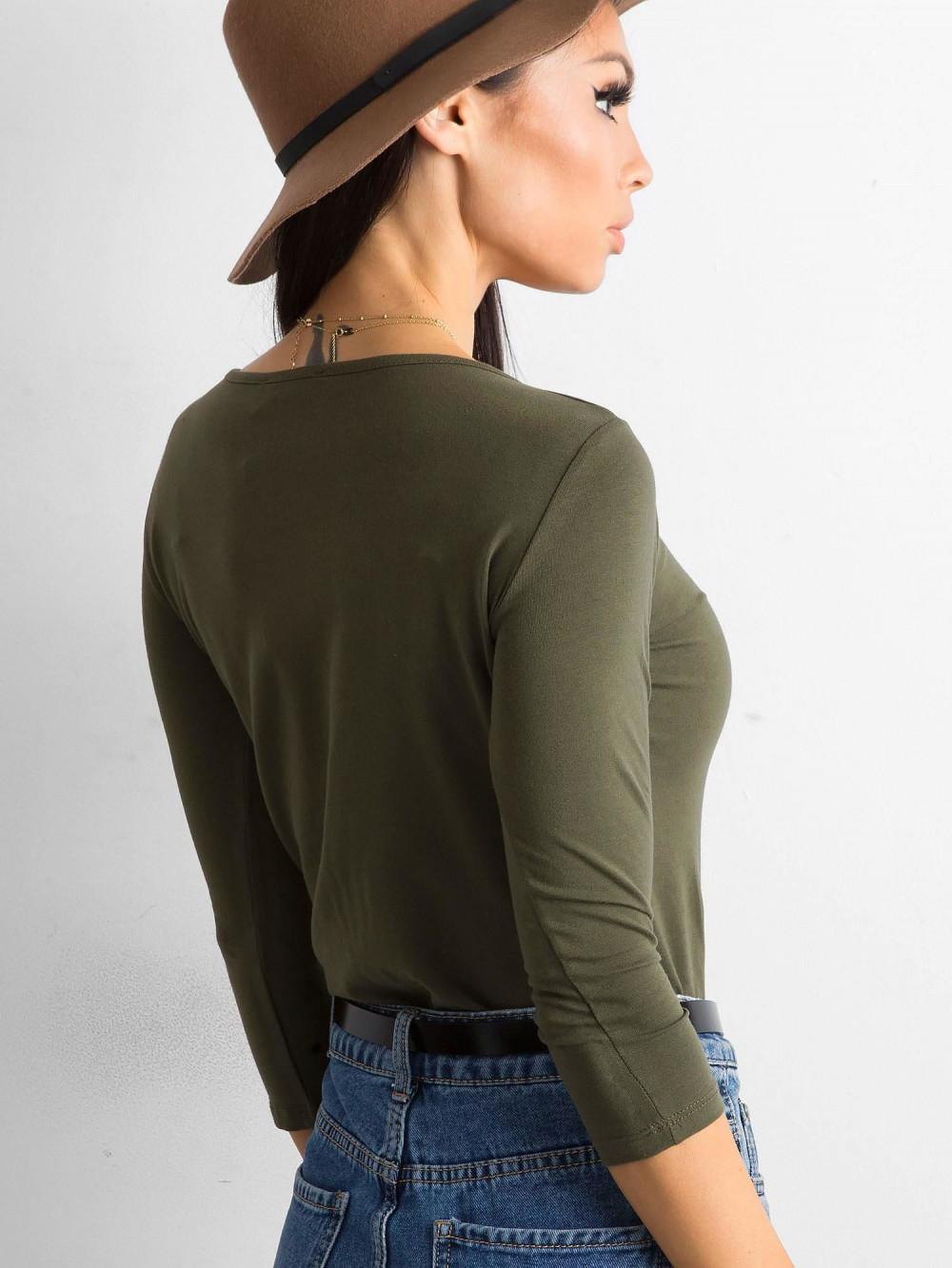 Khaki bluzka O-Neck Sara 4