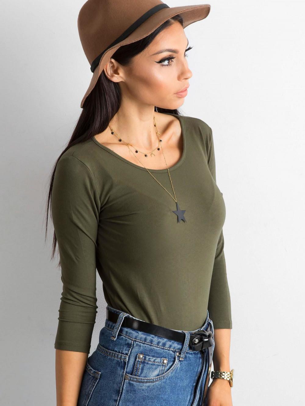 Khaki bluzka O-Neck Sara 2