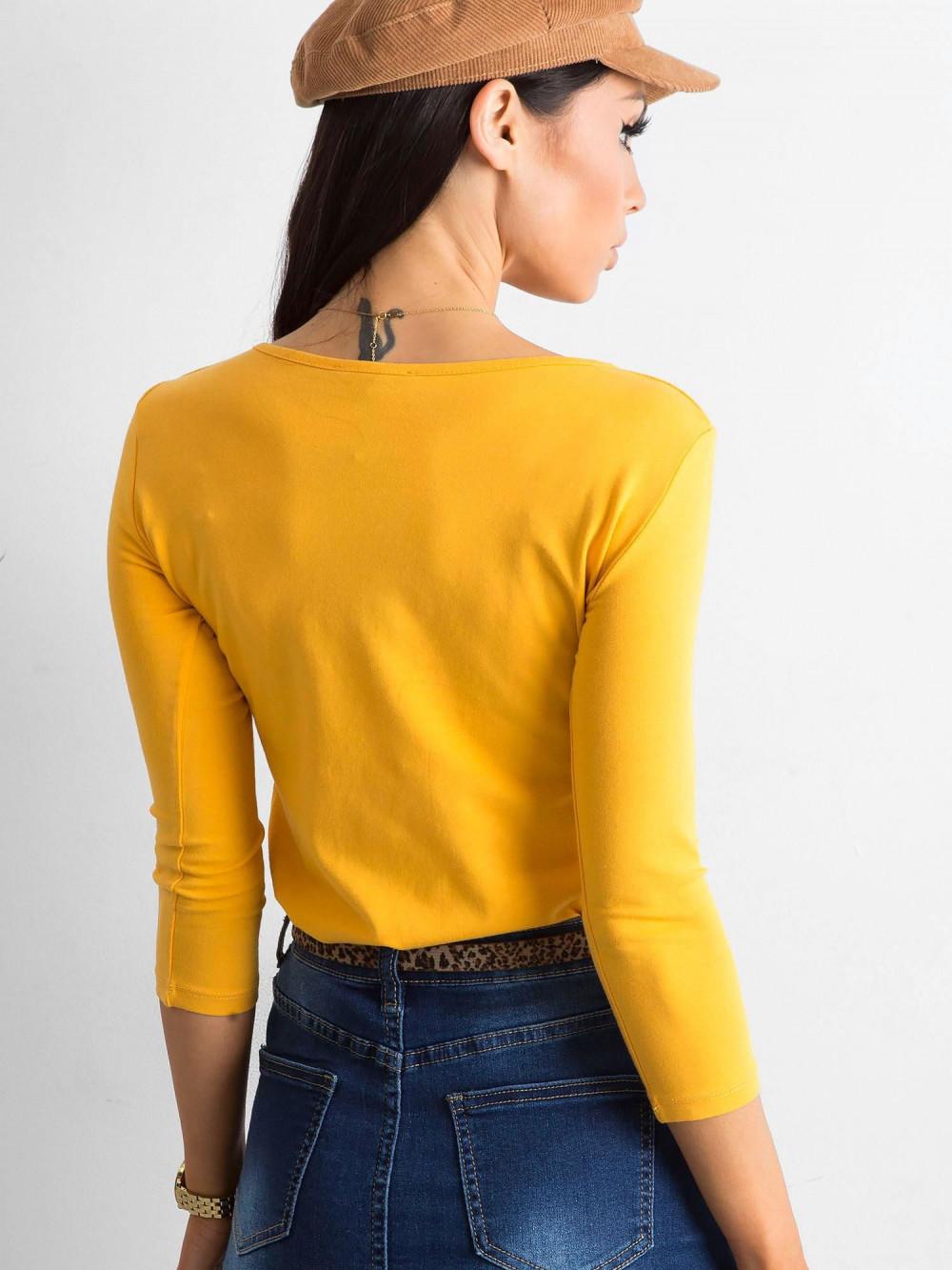Ciemnożółta bluzka O-Neck Sara 4