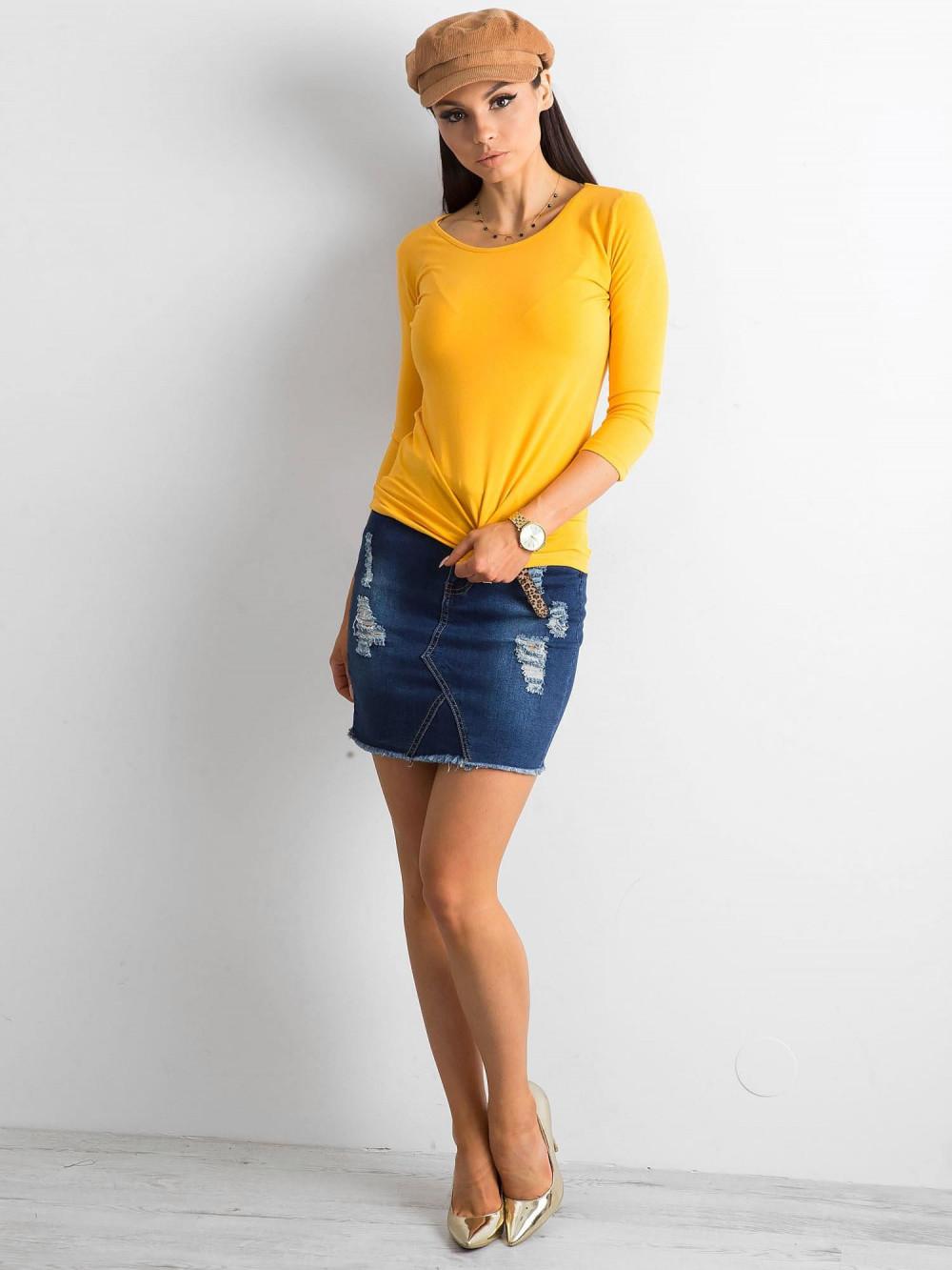 Ciemnożółta bluzka O-Neck Sara 3