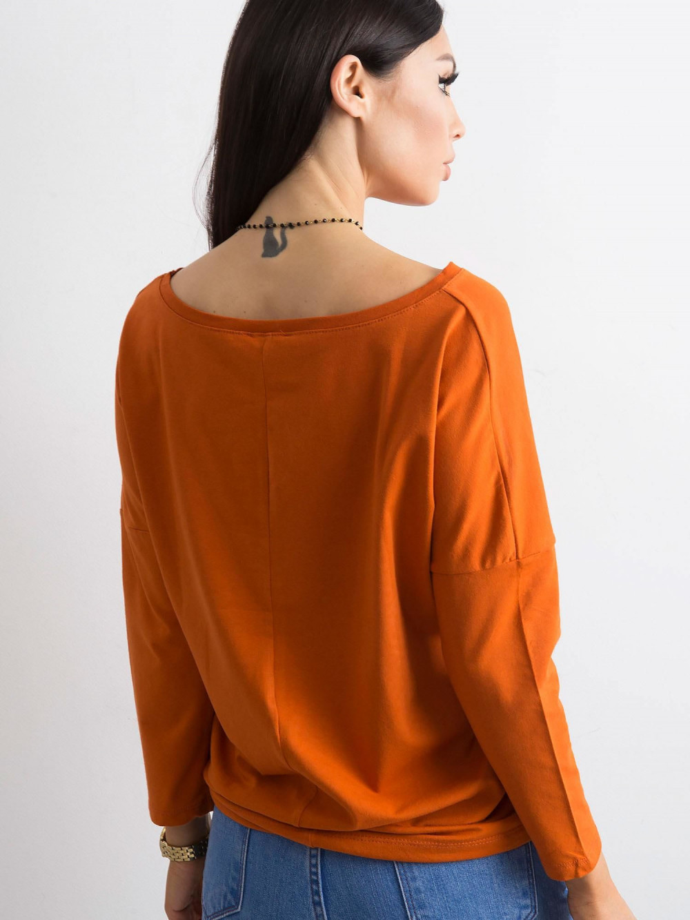 Ciemnopomarańczowa bluzka ze ściągaczem Taurus 4