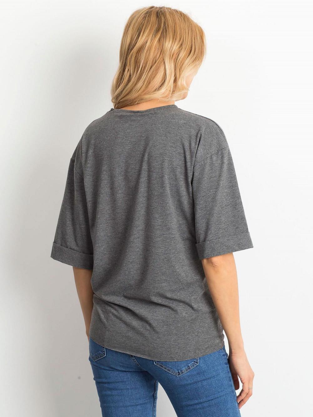 Ciemnoszary melanżowy oversizeowy t-shirt Gimmie 4