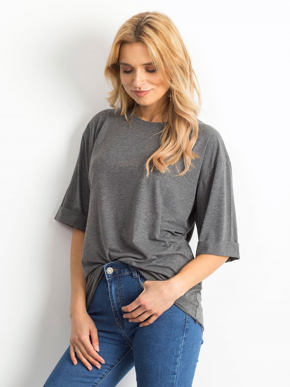 Ciemnoszary melanżowy oversizeowy t-shirt Gimmie 2