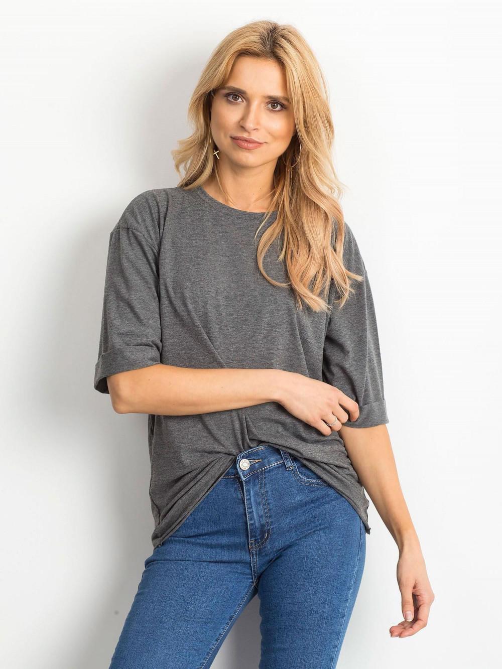 Ciemnoszary melanżowy oversizeowy t-shirt Gimmie 1