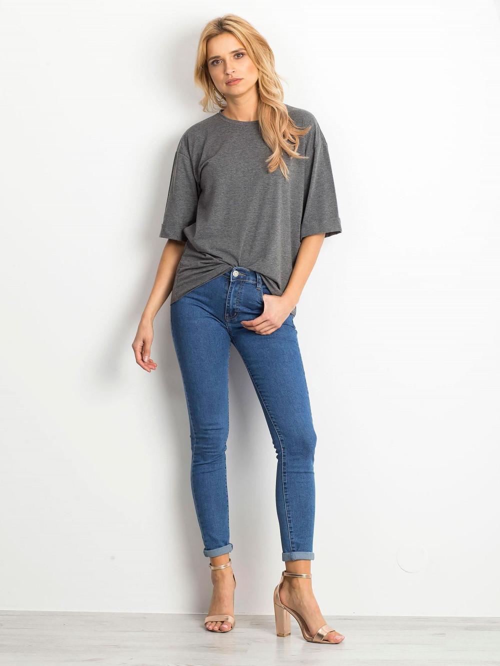 Ciemnoszary melanżowy oversizeowy t-shirt Gimmie 3