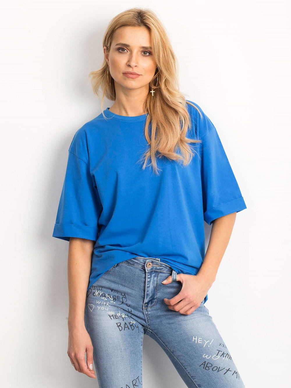 Ciemnoniebieski oversizeowy t-shirt Gimmie 1